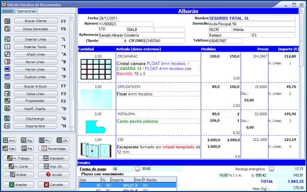 Imagen de la Edición Intuitiva de Documentos de InGnio para Cristalería