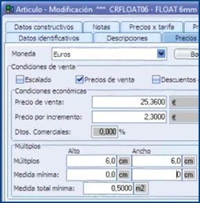 Imagen del una de las ventanas que compone el sistema de tarifas de InGnio