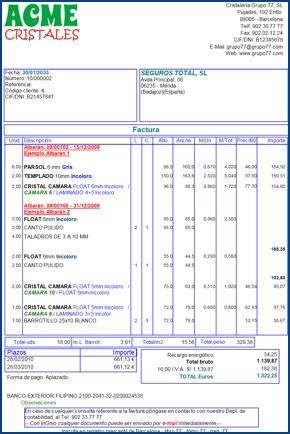 Imagen de un ejemplo de factura creada con InGnio