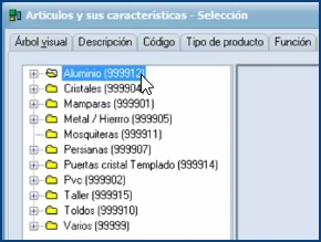 Imagen de los distintos tipos de artículos incluidos en la BD estándar de InGnio