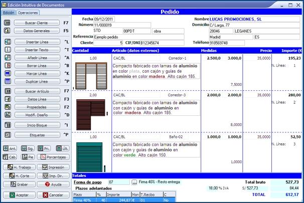 Imagen de la Edición Intuitiva de Documentos de InGnio para Persianas