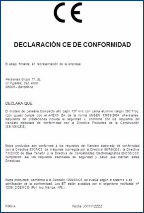 Imagen de la declaración CE de conformidad