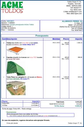 Imagen de un ejemplo de presupuesto creado con InGnio