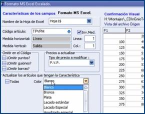 Imagen de la importación de tarifas por escalado desde Excel de InGnio