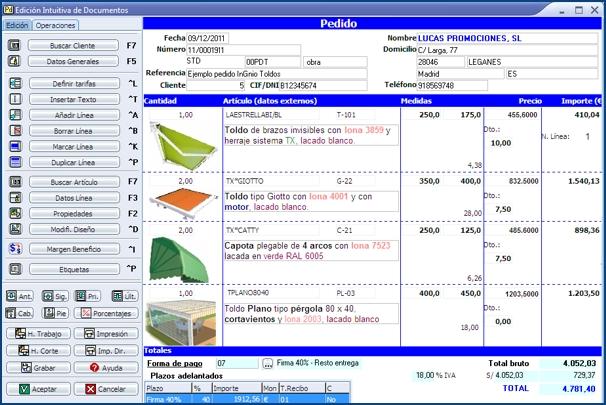 Imagen de la Edición Intuitiva de Documentos de InGnio para Toldos